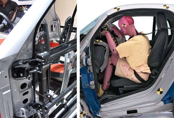 近日,刚刚在巴黎车展上亮相的2011款Smart微型车开始国内预定,并且预计在年底上市销售。此次推出的2011款Smart车型仍是在08年推出的第二代车型基础上的小改款。Smart作为一款尺寸并不大的两座微型车,其被动安全性一直是消费者普遍带有疑问的热点,厂商方面往往会拿出Euro NCAP四星评价作为回答。不过由于Euro NCAP碰撞测试的评价只针对同级车(即微型车VS微型车)进行比较,因此Euro NCAP四星的结果也许还不能完全解决消费者的顾虑。  图1:在今年年初底特律车展上,奔驰再次带来Sma