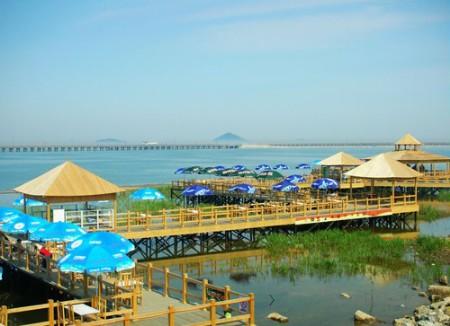 美丽的金山城市沙滩位于杭州湾北岸,金山区南端,全长约2公里,由东北